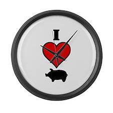 I heart Pig Large Wall Clock