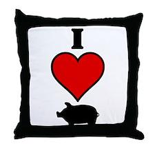 I heart Pig Throw Pillow
