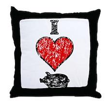 Vintage I Heart Pig Throw Pillow