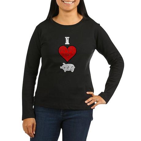 Vintage I Heart Pig Women's Long Sleeve Dark T-Shi
