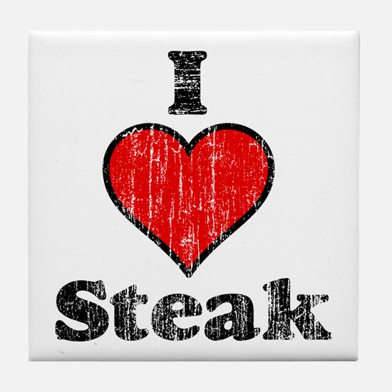 Vintage I heart Steak Tile Coaster