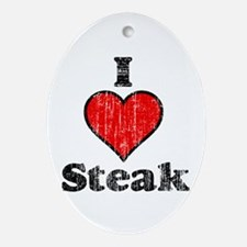 Vintage I heart Steak Oval Ornament