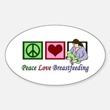 Peace Love Breastfeeding Sticker (Oval)