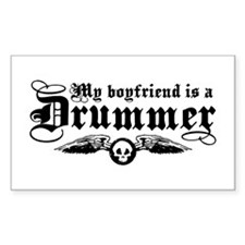 My Boyfriend Is A Drummer Rectangle Decal