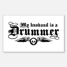 My Husband Is A Drummer Rectangle Decal