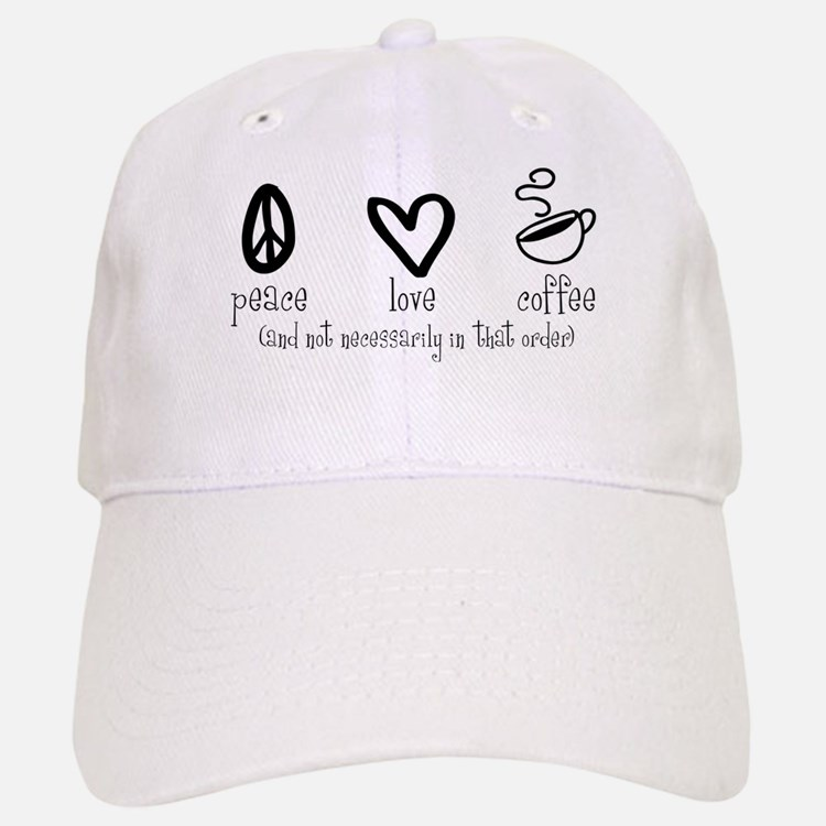 Peace Love Coffee Baseball Baseball Cap