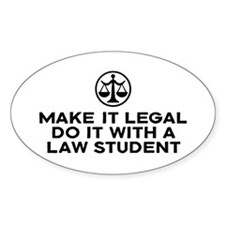 Funny Law Student Oval Decal