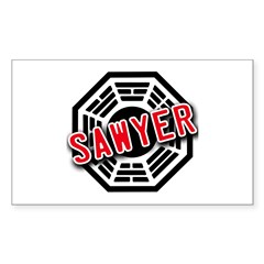 Sawyer Dharma Logo from LOST Rectangle Sticker 50