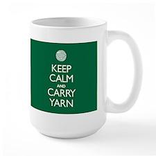 Large Green Keep Calm and Carry Yarn Mug