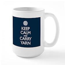 Large Navy Keep Calm and Carry Yarn Mug