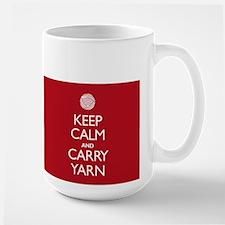 Large Red Keep Calm and Carry Yarn Mug