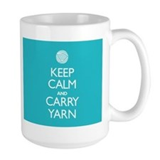 Large Turquoise Keep Calm and Carry Yarn Mug