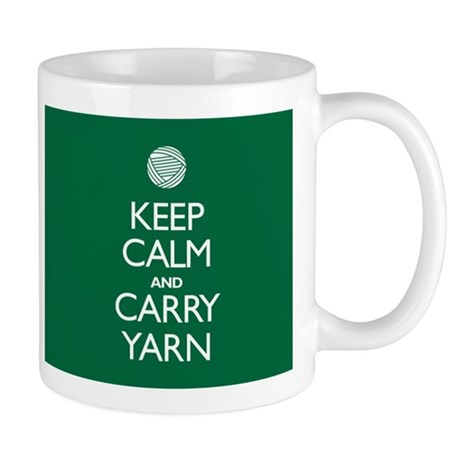 Green Keep Calm and Carry Yarn Mug