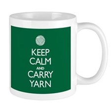 Green Keep Calm and Carry Yarn Small Mugs