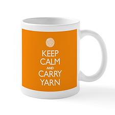 Orange Keep Calm and Carry Yarn Small Mugs