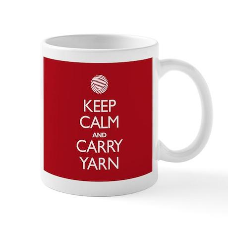 Red Keep Calm and Carry Yarn Mug