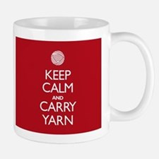 Red Keep Calm and Carry Yarn Mug