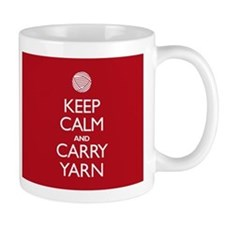 Red Keep Calm and Carry Yarn Small Mug