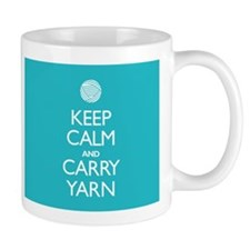 Turquoise Keep Calm and Carry Yarn Small Mugs