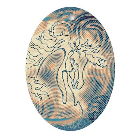 """Abundante"" Oval Ornament ~ Cool Blue Peach"