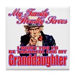 Military Family Granddaughter Tile Coaster