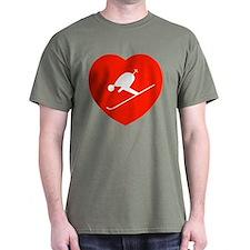 Love Skiing Heart Black T-Shirt