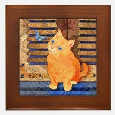 Quizzical Kitten Framed Tile