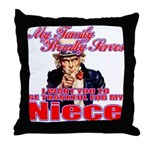 Proud of My Military Niece Throw Pillow
