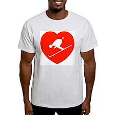 Love Skiing Heart Ash Grey T-Shirt