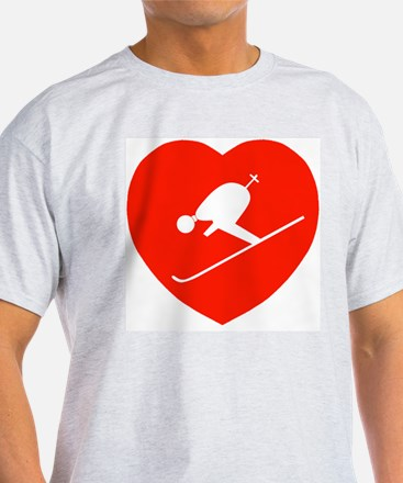 Love Skiing Heart Ash Grey T-Shirt