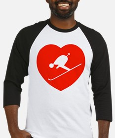 Love Skiing Heart Baseball Jersey