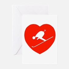 Love Skiing Heart Greeting Cards (Pk of 10)
