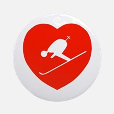 Love Skiing Heart Ornament (Round)