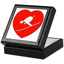 Love Skiing Heart Keepsake Box