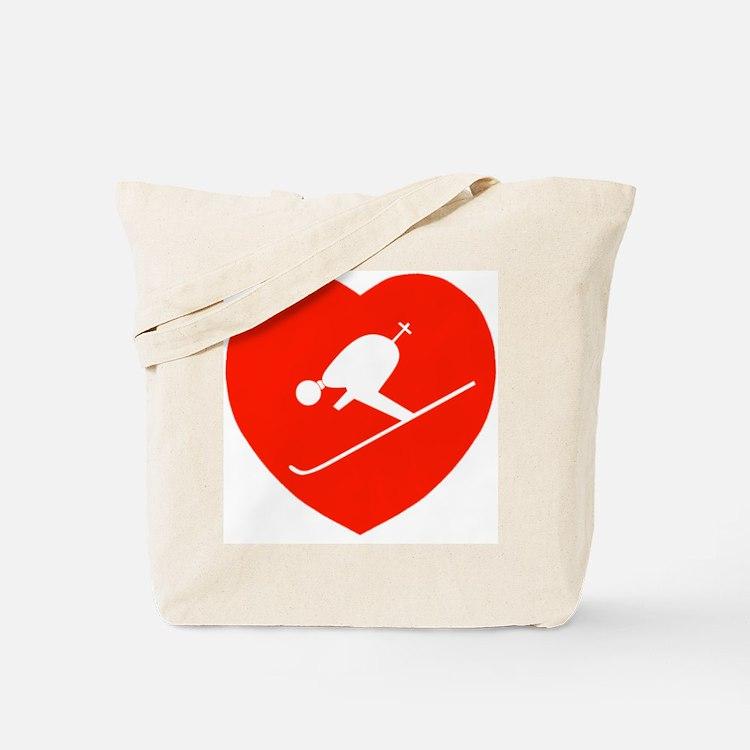 Love Skiing Heart Tote Bag