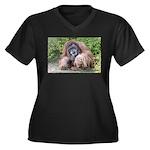 The Sage Women's Plus Size V-Neck Dark T-Shirt