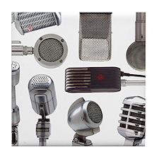 Retro Microphone Collage Tile Coaster