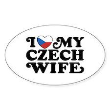 I Love My Czech Wife Oval Decal