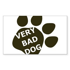 Very Bad Dog black paw Rectangle Decal