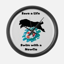 Swim With A Newfie! Large Wall Clock