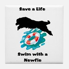 Swim With A Newfie! Tile Coaster