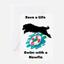 Swim With A Newfie! Greeting Card