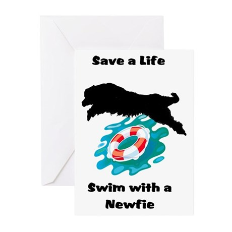 Swim With A Newfie! Greeting Cards (Pk of 10)