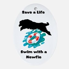 Swim With A Newfie! Oval Ornament
