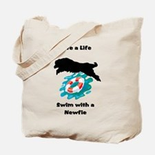 Swim With A Newfie! Tote Bag