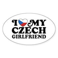 I Love My Czech Girlfriend Oval Decal