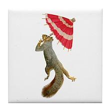 Squirrel with Parisol Tile Coaster