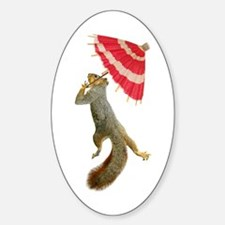 Squirrel with Parisol Oval Decal