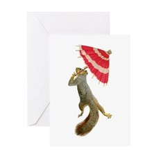 Squirrel with Parisol Greeting Card