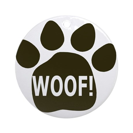 WOOF paw black Ornament (Round)